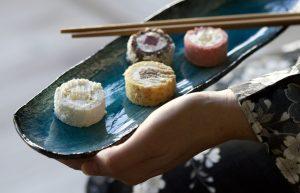Hapjes, Japanse, Japanse High tea, Japanse tea room, Lunchroom Bij Saartje, zoete sushi, snoep sushi