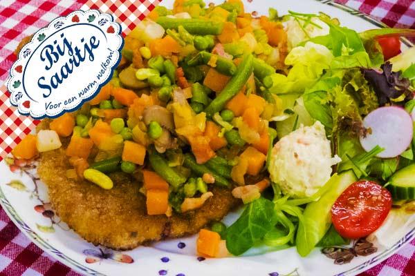 boeren schnitzel, schnitzel, Lunchroom Bij Saartje