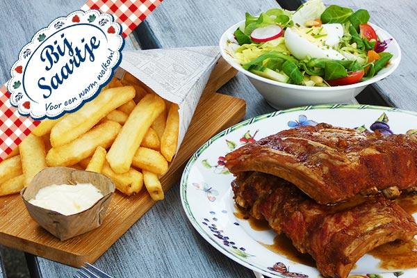 onbeperkt Spareribs, Oma's favoriete frietjes, Lunchroom Bij Saartje, elke vrijdag onbeperkt spareribs