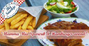 onbeperkt Spareribs, Oma's favoriete frietjes, Lunchroom Bij Saartje, elke vrijdag onbeperkt spareribs, mamma mia